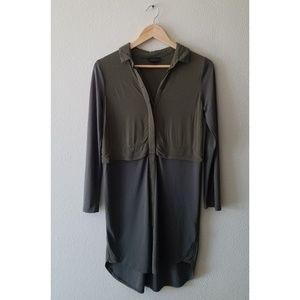 Topshop olive green button up shirt dress
